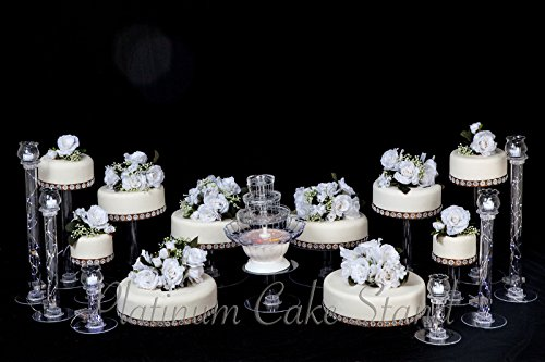 10 Tier Cascade Wedding Cake Stand and 6 Glass Votive Candle Set (Style 806) ()