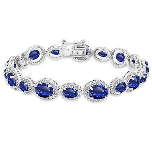 Sterling Silver Created Blue Sapphire & White Topaz Oval Halo Statement Bracelet