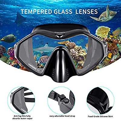 SKL Adult Snorkel Set Full Dry Snorkel Diving Mask Tempered Glass Professional Snorkeling Set for Adult Youth