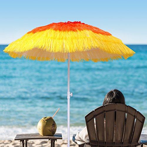 Asian Thatch (Ammsun 2017 6.5ft Beach Umbrella Tropical Thatch Hawaiian Style Straw Umbrella UPF 50+ with Tilt)