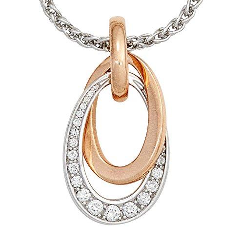 Anhänger 585 Gold Rotgold Weißgold bicolor 27 Diamanten Brillanten 0,28ct.