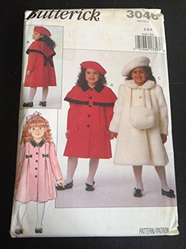 Butterick 3046 Sewing Pattern, Children's Coat, Muff & Beret, Size 2-3-4