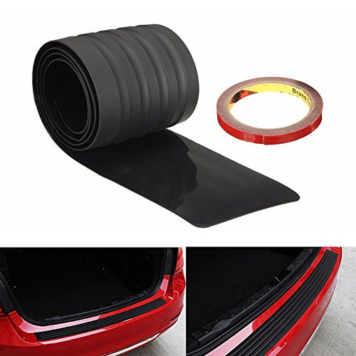 iJDMTOY (1) Black Rubber Rear Trunk Edge Guard Scratch Protector Cover Mat w/ Double-Sided Tape For Car SUV Jeep, etc ()