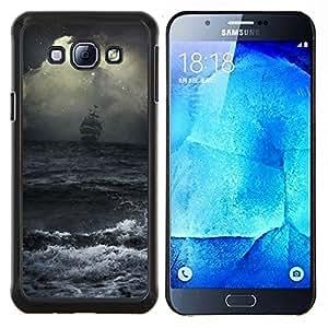 Ocean Waves tormenta Vela Barco Piratas- Metal de aluminio y de plástico duro Caja del teléfono - Negro - Samsung Galaxy A8 / SM-A800