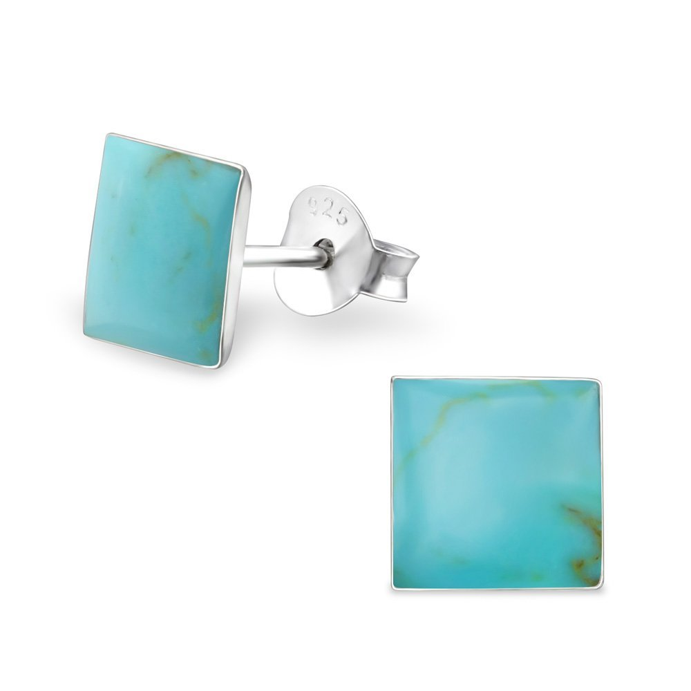 Sterling Silver Simulated Green Turquoise Square Stud Earrings with Shell