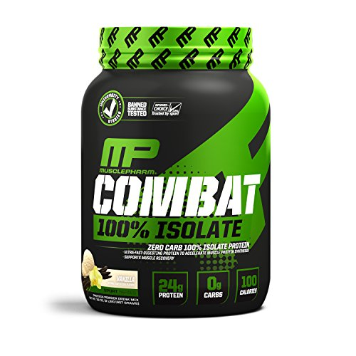Zero Fat - MusclePharm 100% Whey Isolate, Pure Isolate Protein Powder with 0 Carbs, 0 Fat, 0 Sugar, Vanilla Ice Cream, 2 Pound, 33 Servings