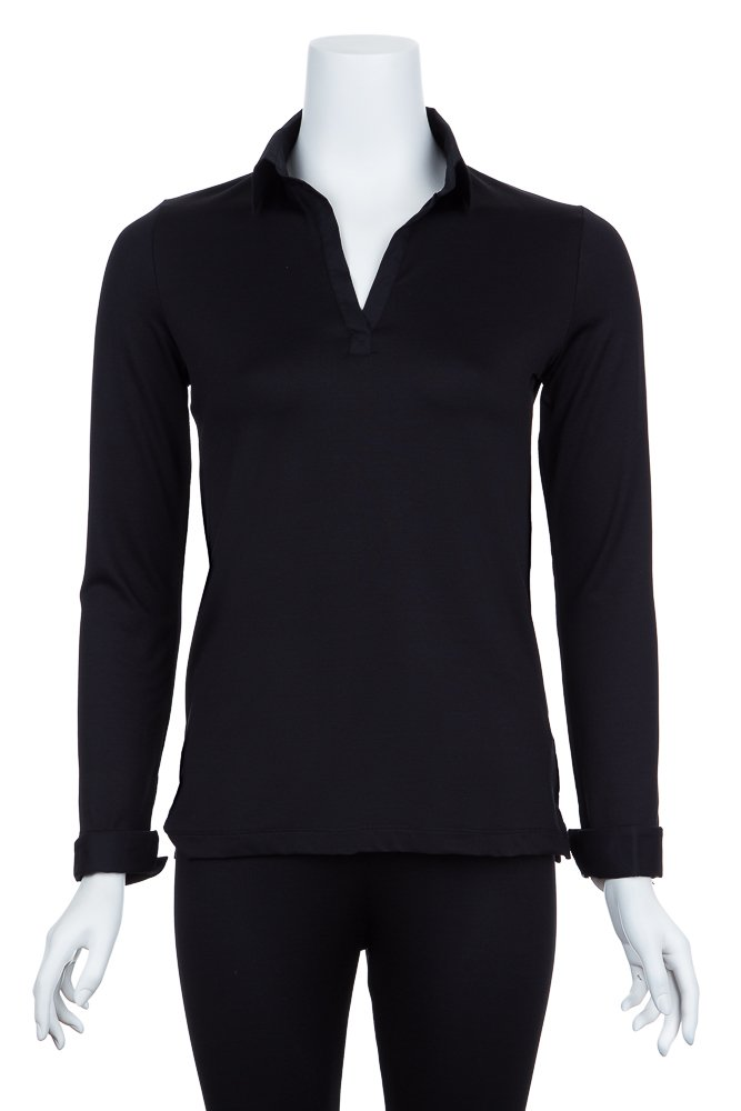 A'nue Miami Women's Collared and Cuffed, Long Sleeve Formal Shirt, Small, Black