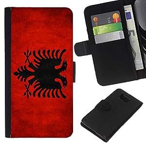 """Be-Star la tarjeta de Cr¨¦dito Slots PU Funda de cuero Monedero caso cubierta de piel Para Samsung ALPHA G850 ( Bandera nacional de la Serie-Albania"""" )"""