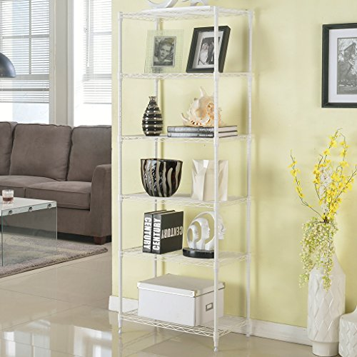 LANGRIA 6 Tier Modern Storage Organization Rack and Shelving Unit with 5 Hooks, 66.1lbs Capacity,21.3*11.4*63