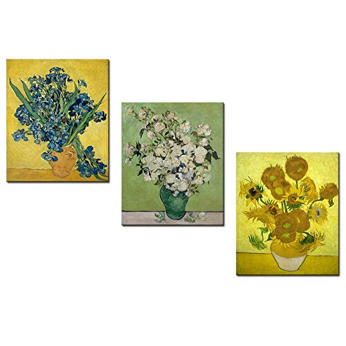 sechars - Vincent Van Gogh Art Reproduction 3 Panels Irises and Sunflowers Painting Canvas Prints Flowers Pictures on Canvas Wall Art Work Ready to Hang for Home Office Decorations (12