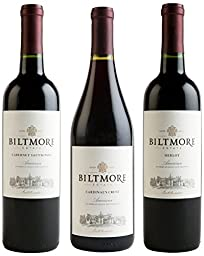Biltmore Merlot, Cardinal Crest, and Cabernet Sauvignon Mixed Pack, 3 x 750 mL
