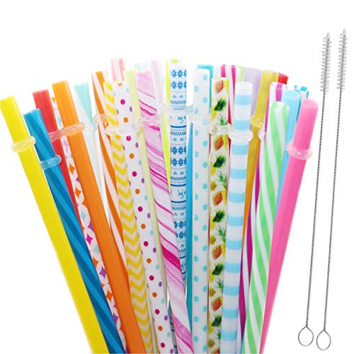 32 PCS Reusable Straws, BPA Free, 9 Inch Colorful Hard Plastic Drinking Straws for Yeti, Mason Jar Tumbler, RTIC, Starbucks, Family or Party Use with 2 Set Cleaning Brush