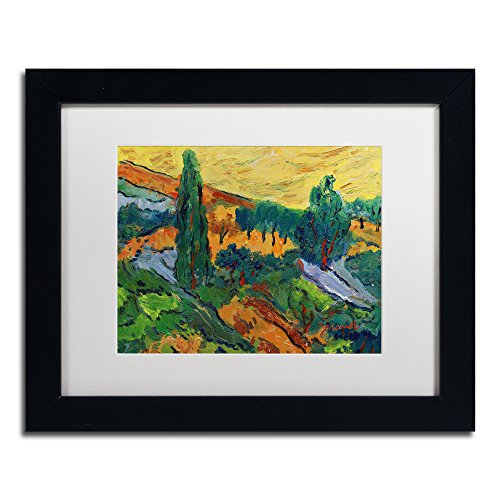 "picture of Trademark Fine Art Sunset Ends a Summer Day Framed Artwork by Manor Shadian, 11 by 14"", White Matte/Black Frame"