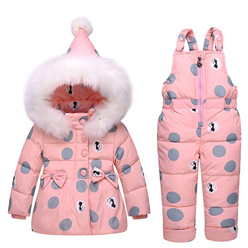 Baby Girls' Ultralight Cat Pattern Snowsuit Winter Puffer Jacket Two-piece Set With Fur Trim (100cm, Pink) (For Snowsuit Piece Toddlers 2)
