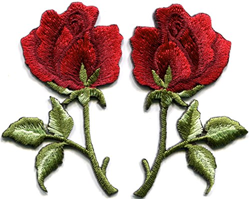 Deep red Roses Pair Flowers Floral Retro Boho Love DIY Embroidered Appliques Iron-on Patches S-542