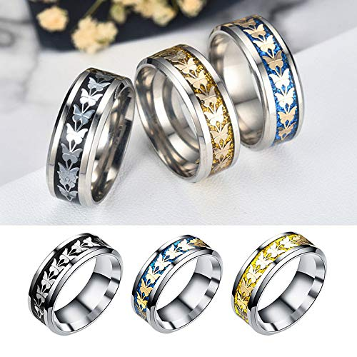 Gbell Unisex Fashion Bohemian Butterfly Rings - Vintage Silver Stack Hip Hop Rings Above Knuckle Rings for Women Men Birthday Christmas Valentine's Day Present,Size 6-12 by Gbell (Image #5)