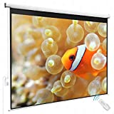 Projector Projection Screen w/ Remote Control Electric Matte White 80'' x 60'' Viewing Area 4:3 HD Movie Theater Meeting Room Classroom Home Theater Conference Seminars Presentation