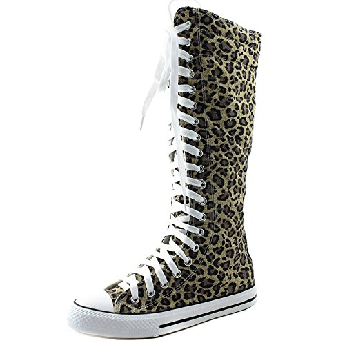 DailyShoes Women's Knee High Punk Sneaker Boots Punk-Hi Leopard, ()