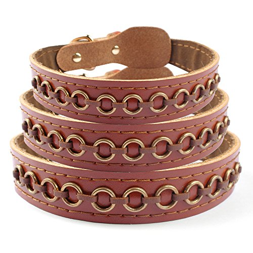 Gold Braided Circle - Skuleer(TM)Brand Hand Braided Studded Circle Genuine Leather Dog Pet Collar Neck for 15-22