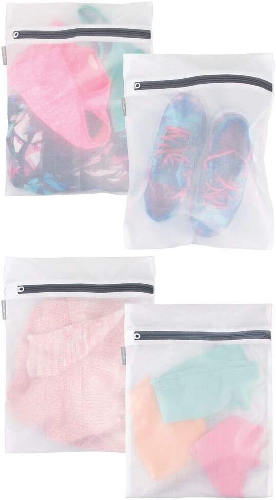mDesign Medium Laundry Mesh Wash Bag - Fine Weave Fabric, Zipper Closure, Washing Machine and Dryer Safe, Protect Lingerie, Delicates, Underwear, Bras, Leggings - Great Travel Bag - 4 Pack - White