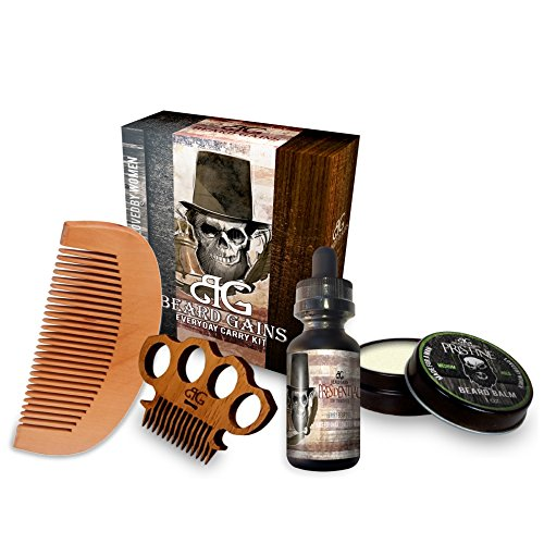 Beard Gains Presidential Every Day Carry Beard Care Kit - Beard Oil, Beard Balm Conditioner, Mustache Comb, Wooden Beard Comb ()
