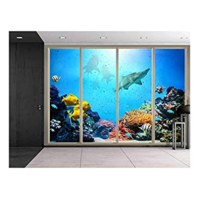 Wall26 - Large Wall Mural - Under The Deep Ocean Seen Through Sliding Glass Doors   3D Visual Effect Self-Adhesive Vinyl Wallpaper/Removable Modern Decorating Wall Art - 100
