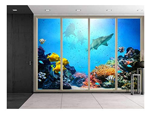 Large Wall Mural Under the Deep Ocean Seen Through Sliding Glass Doors 3D Visual Effect Vinyl Wallpaper Removable Decorating
