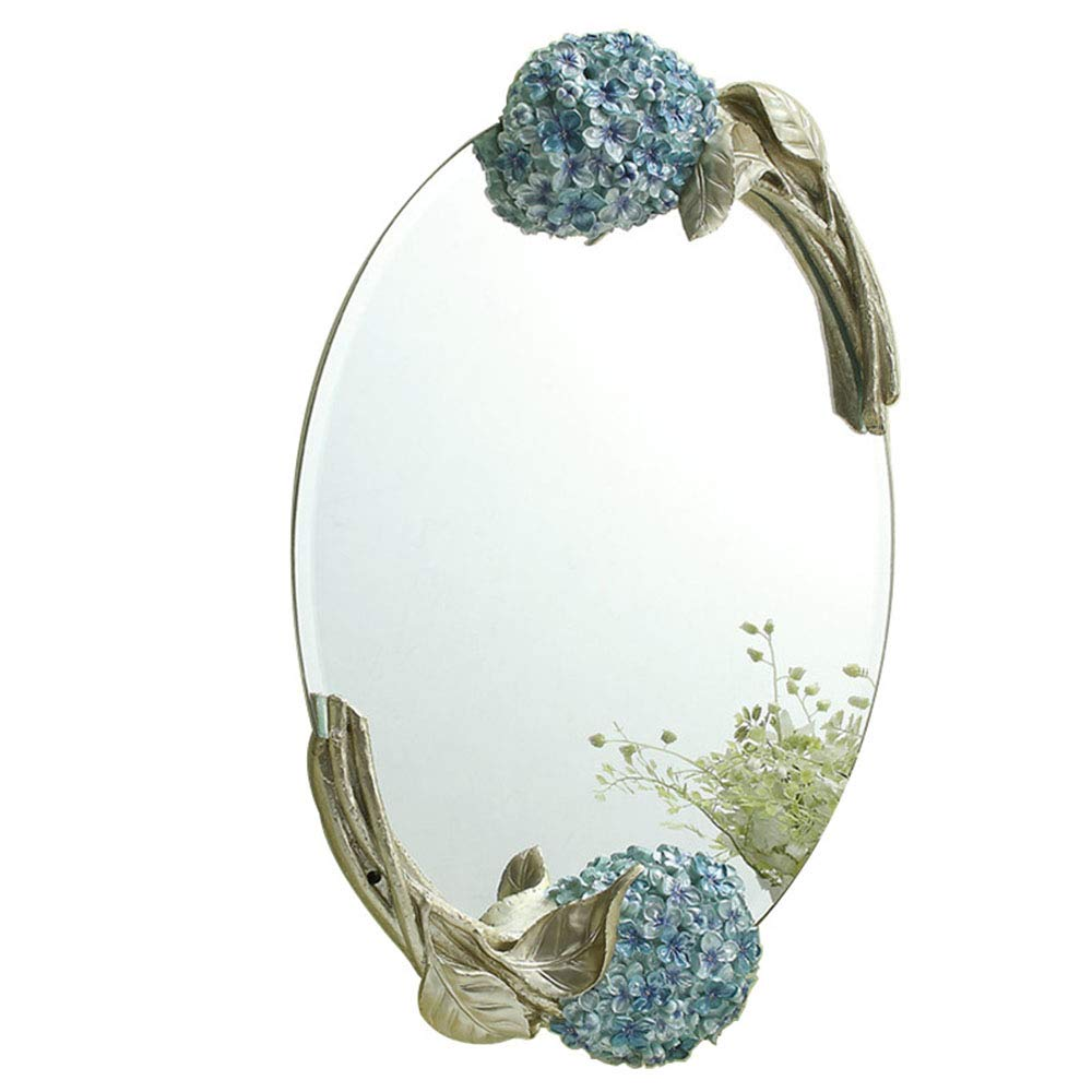 Mirror Wall-Mounted Oval Bathroom Waterproof Hd, Bedroom Dressing Table Hand-Carved Decorative YZRCRK