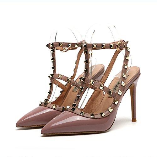 Zapatos de Sandalias de Zapatos roja Zapatos alto Fina de de alto Zapatos correa verano Purple Remache nocturno VIVIOO pink club mujer de tacón alto de alto con tacón del tacón 10cm tacón dWOnO74q