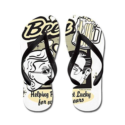 Echt Teague Heren Bier: Mensen Helpen Geluk Te Krijgen Rubberen Slippers Sandalen Zwart