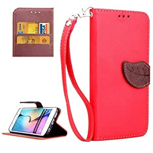Leaf Magnetic Snap lichis Texture Horizontal Leather Case Funda Flip Cover con bolsillos interiores & Holder & Lanyard para Samsung Galaxy S6 Edge (Red)