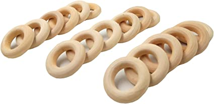 Natural Wooden Round Teething Beads Baby Unfinished Jewelry Necklace Making Toy