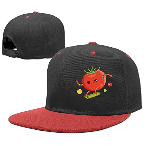 Funny Red Tomato Skateboard Kid's Hat Hip-hop Baseball Caps Boy Girl Adjustable Flat Trucker Hats One Size Caps