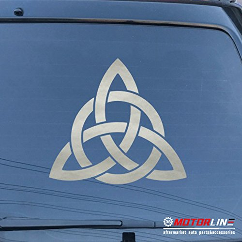 3S MOTORLINE Celtic Trinity Knot Symbol Decal Sticker Car Vinyl pick size color die cut (silver, 20'' (50.8cm))