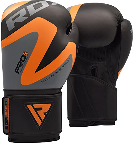 RDX Boxing Gloves Training Punching Bag Sparring Maya Hide Leather Muay Thai Mitts Kickboxing,Orange,16oz
