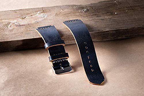Excellent Topgrain Handmade Leather Watch Band | 18 mm Size Black | Bonus Stainless Steel with It Removal Tool for CASIO AE 1200