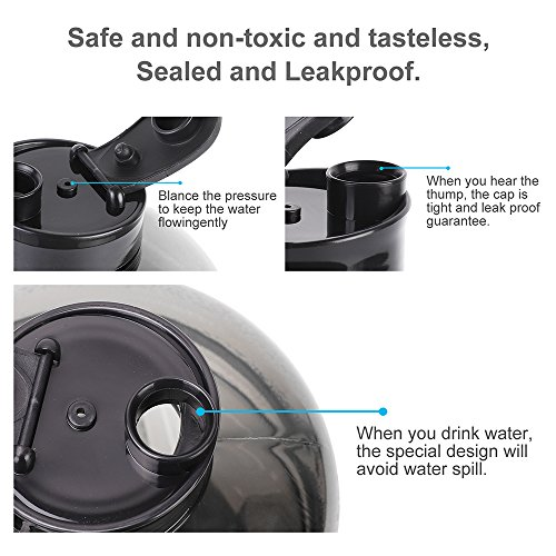 ENINE 2.2L Large Sport Water Bottle BPA Free Plastic Big Capacity Leakproof Water Jug Container with Carrying Loop Fitness for Camping Training Bicycle Hiking Gym Outdoor Sports (Black) by ENINE (Image #4)