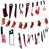 JETTINGBUY Bloody Weapons Fake Bloody Hand Feet Garland Props for Halloween Horror Zombie Vampire Scary Hanging Banner Party Decor Supplies, Knife Hammer Shear by Scary Friday Night, 28Pcs, 2.2m/7.2ft