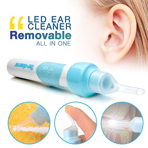 Gleebee Electric Ear Cleaner - Automatic Wax Removal Tools - Soft Silicone, Vacuum Suction and LED Light with Two Spoons (S2)