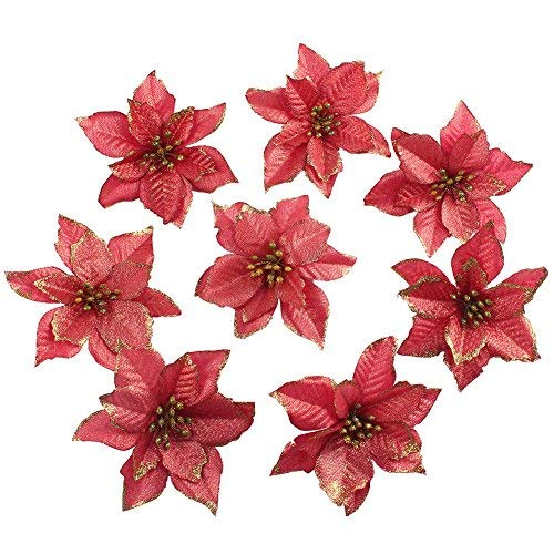OurWarm 50pcs Glitter Poinsettia Christmas Tree Ornaments Artificial Poinsettia Flowers for Christmas Decorations, Gold (Red, ()
