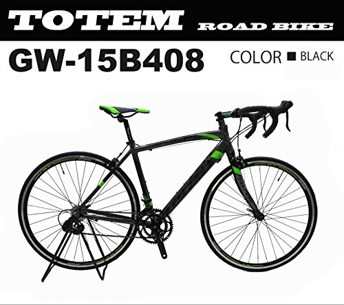 totem ロードバイク スポーツバイク 自転車 超軽量アルミフレーム 700C ダブルクイックハブ シマノ SHIMANO 全国送料無料 最安値 TOTEM トーテム 通勤通学 26インチ STIレバー デュアルコントロールレバー 15B408 700x500 ブラック B076P9VGGS