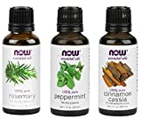 3-Pack Variety of NOW Essential Oils: Energizing – Rosemary, Cinnamon Cassia, Peppermint