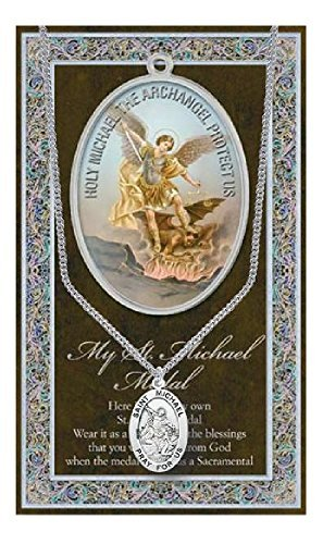 St Michael Pendant Medal on 18 Inch Stainless Steel Chain with Prayer
