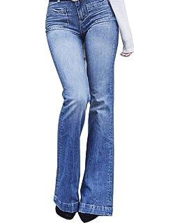 Mujer Cintura Alta Pantalones Acampanados Vaqueros Jeans Pantalones De  Campana 58b56ab0b909