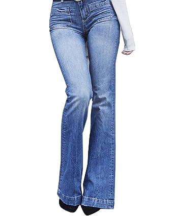 Mujer Cintura Alta Pantalones Acampanados Vaqueros Jeans ...