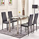 QIHANG-UK Dining Table and 4 Chairs Set Kitchen Dining Table Set Tempered Glass Chrome Legs Dining Table and 4 Faux Leather High Back Padded Chairs