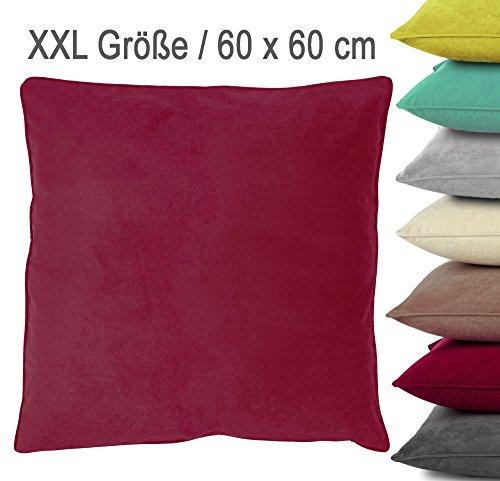 XXL Samt-Kuschel-Kissen VELVET mit RV und herausnehmbarer Füllung / 60x60 cm / Deko-/Zierkissen / Sofakissen / rot (bordeaux)