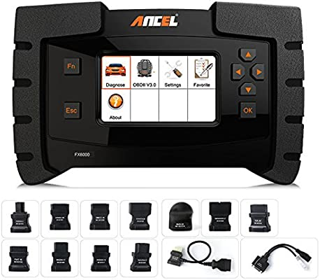 ANCEL FX6000 All System OBD2 Diagnostic Scan Tool with 11 OBD Connectors  Automotive Code Scanner for Check Engine ABS SRS Transmission DPF TPMS EPB