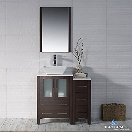 BLOSSOM 001 36 03 1616V SC Sydney 36 Vanity Set With Vessel Sink And Side Cabinet Wenge