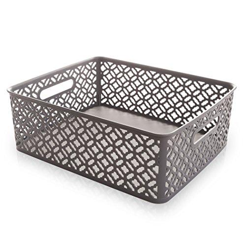 BINO Woven Plastic Storage Basket Grey Medium